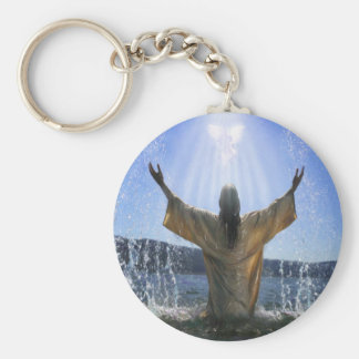 Baptism Basic Round Button Key Ring