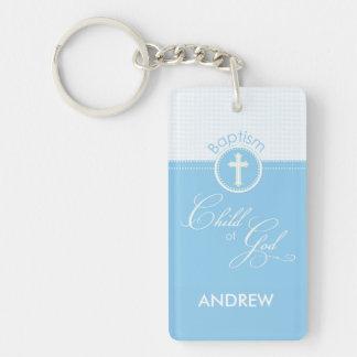 Baptism Blue Child of God, Customizable Double-Sided Rectangular Acrylic Key Ring