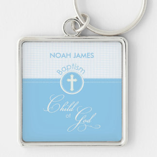 Baptism Blue Child of God, Customizable Silver-Colored Square Key Ring