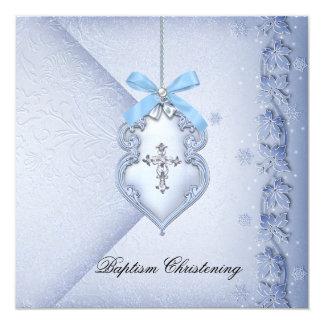 Baptism Blue Cross Boy damask christening Card