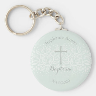Baptism Blue Opal Delicate Floral Lace Basic Round Button Key Ring