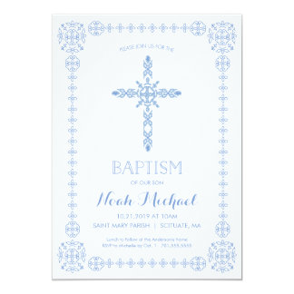 Baptism, Christening Boys Invitation Elegant Cross