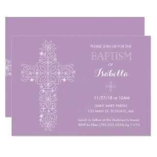 Baptism, Christening Invitation - Baby Girl