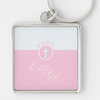 Baptism Congratulations Pink Child of God, Gift Silver-Colored Square Key Ring