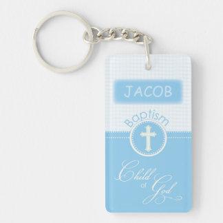 Baptism, Custom Name, Blue Child of God Double-Sided Rectangular Acrylic Key Ring