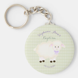 Baptism Lamb Basic Round Button Key Ring