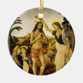 Baptism of Christ by Da Vinci and Verrocchio Christmas Ornament