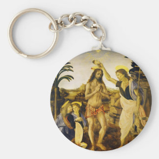 Baptism of Christ by Da Vinci and Verrocchio Keychains
