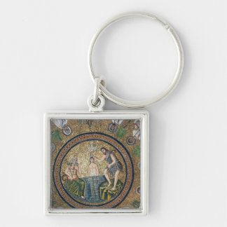 Baptism of Christ Silver-Colored Square Key Ring