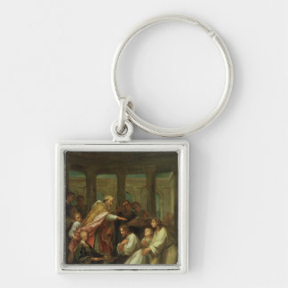 Baptism of St. Augustine Silver-Colored Square Key Ring