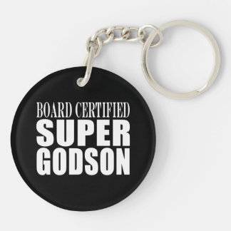 Baptism Parties : Board Certified Super Godson Double-Sided Round Acrylic Key Ring