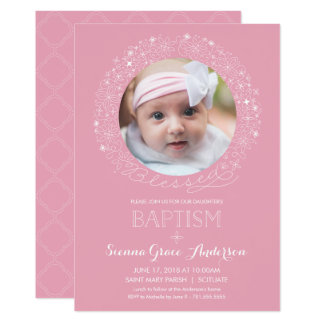 Baptism Photo Invitation, Girl's Picture Invite