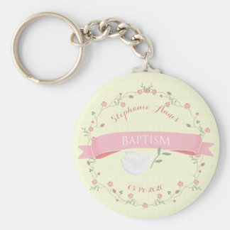 Baptism Pink Floral Wreath Basic Round Button Key Ring