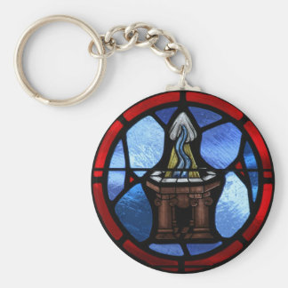 Baptism Stained Glass Art Basic Round Button Key Ring
