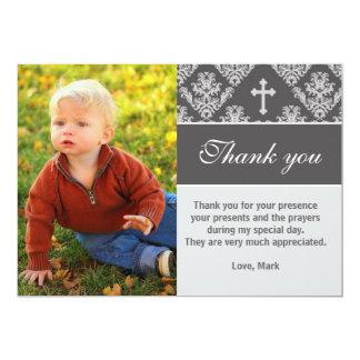 Baptism Thank You Note Custom Photo Card Grey