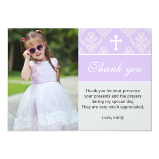 Baptism Thank You Note Custom Photo Card Lavender