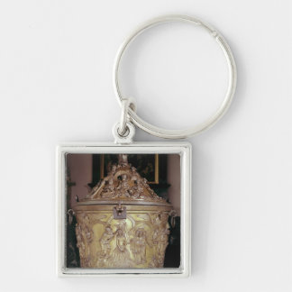 Baptismal font showing Silver-Colored square key ring
