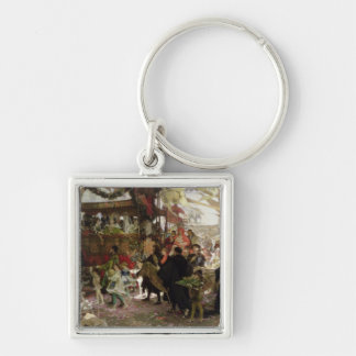 Baptismal Procession of Prince Juan in Seville Silver-Colored Square Key Ring