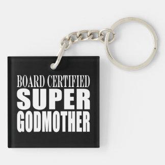 Baptisms Birthdays Christmas : Super Godmother Double-Sided Square Acrylic Key Ring