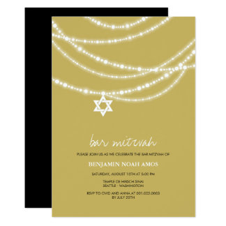 Bar Bat Mitzvah Sparkles Star Of David Invitation