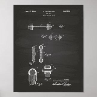 Bar Bell 1948 Patent Art Chalkboard Poster