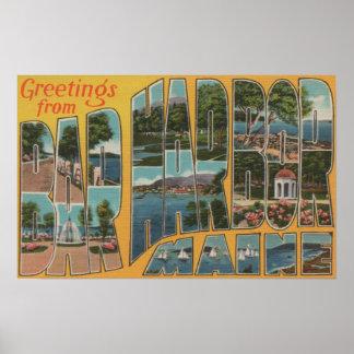 Bar Harbor, Maine - Large Letter Scenes Poster