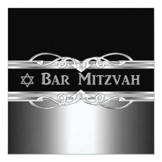 Bar Mitzvah Black Silver Metal Boy Card