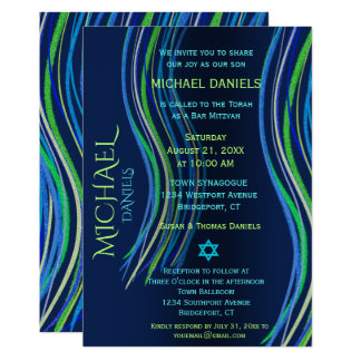 Bar Mitzvah Blue and Green Prayer Shawl