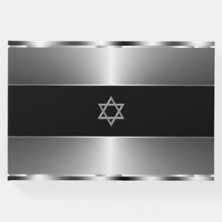 Bar Mitzvah Guest Book Black and Silver
