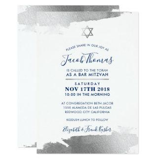 BAR MITZVAH INVITE modern gilded silver navy blue