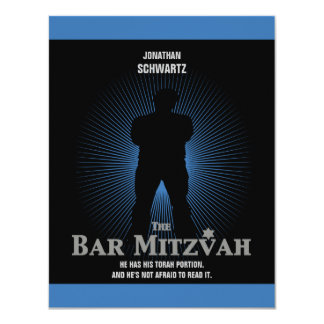 Bar Mitzvah Movie Star Reply Card in Blue, Black 11 Cm X 14 Cm Invitation Card