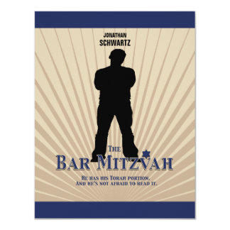 Bar Mitzvah Movie Star Reply Card in Navy Tan 11 Cm X 14 Cm Invitation Card