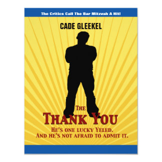 Bar Mitzvah Movie Star Thank You Card/Cade 11 Cm X 14 Cm Invitation Card