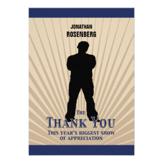 Bar Mitzvah Movie Star Thank You Card Navy Tan Invite