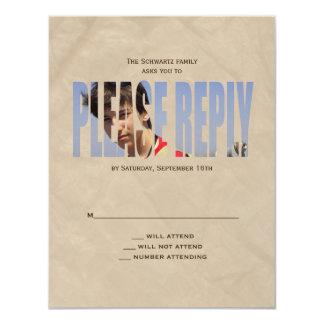 Bar Mitzvah Photo Reply Card in Tan Crinkled 11 Cm X 14 Cm Invitation Card