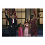 Barak Obama family wave at the last night of Poster