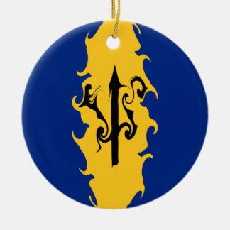 Barbados Gnarly Flag Round Ceramic Decoration