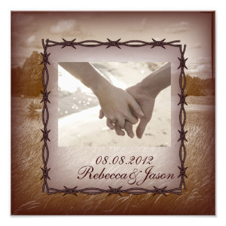 barbed wire western country wedding art photo