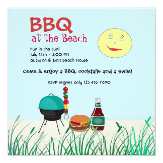 Barbeque Beach Party Invitation