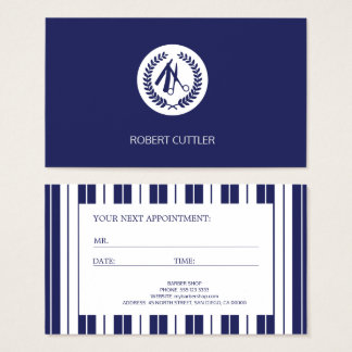 Barber navy white striped modern appointment business card