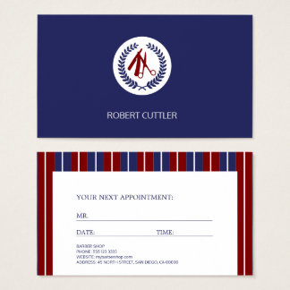 Barber red navy white striped modern appointment business card