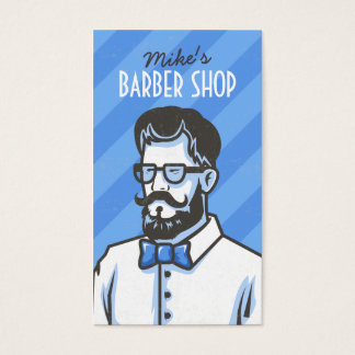 Barbershop blue stripes barber retro illustration business card