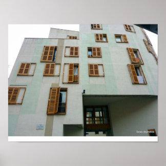 Barcelona apartment building poster