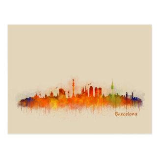 Barcelona Spain City Skyline. Watercolor Cityscape Postcard