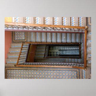 Barcelona, Spain - Patterned Tile Stairway Poster