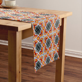 Barcelona tile red octagonal pattern short table runner