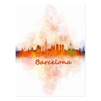 Barcelona watercolor Skyline v04 Postcard
