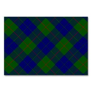 Barclay clan tartan blue green plaid table card