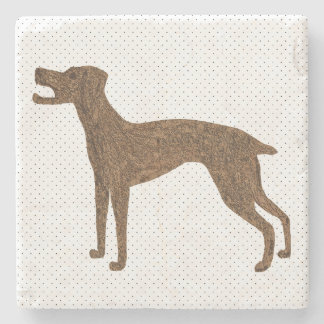 Barking dog stone beverage coaster
