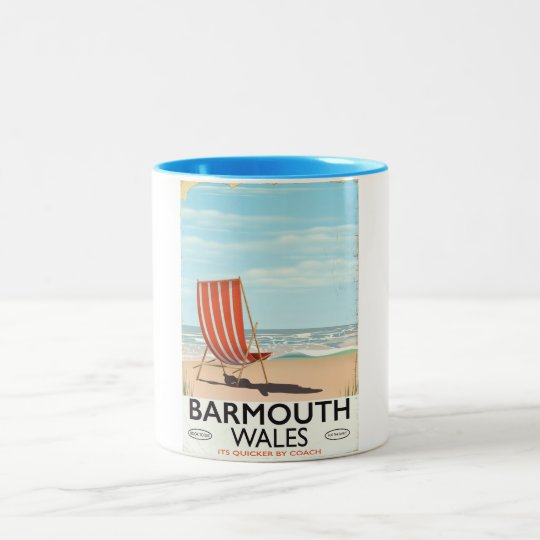 Barmouth North wales vintage travel poster Two-Tone Coffee Mug